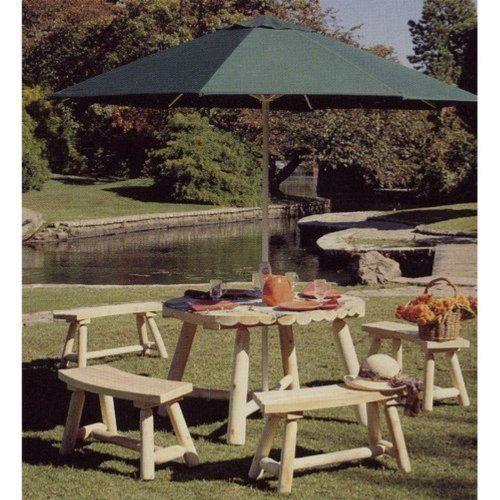 Rustic Cedar Bench Patio Set By Rustic Natural Cedar 729 99 3 Inch Umbrella Rustic Outdoor Furnitureoutdoor