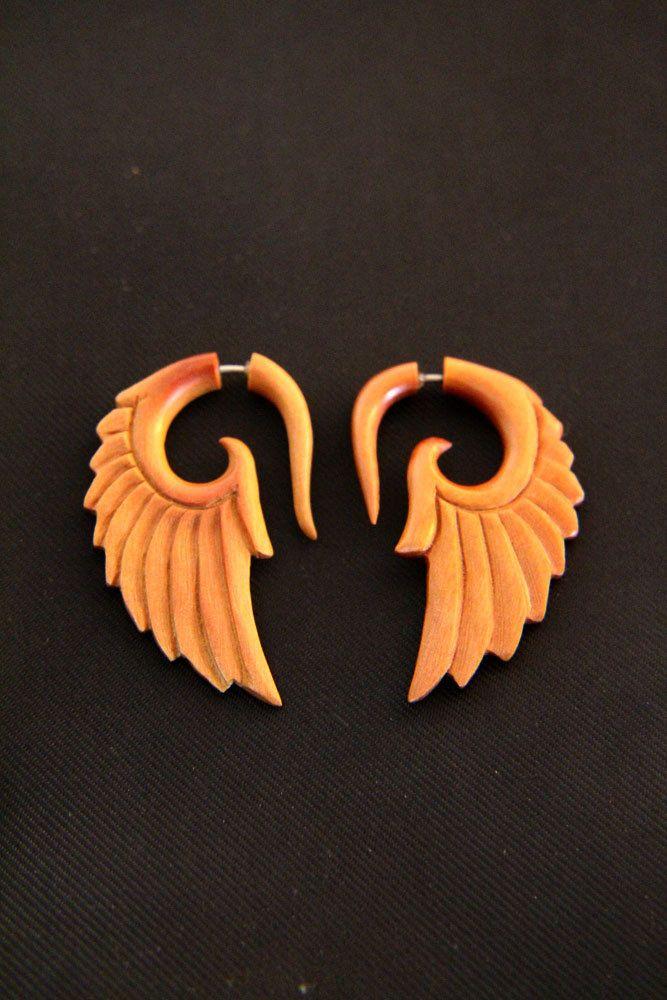 Tribal Wings Fake Gauges Wood Earring, Abstract Angel Wings Fake Piercing Wooden…