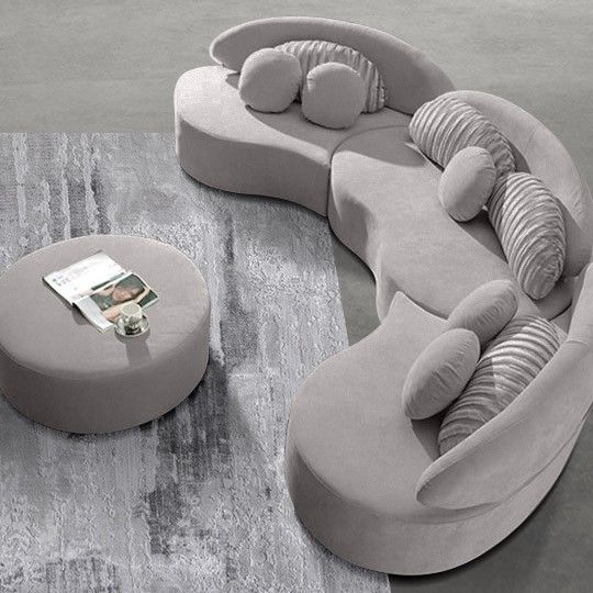 Modern 7-Seat Modular Sofa Round Sectional Sofa Beige ...