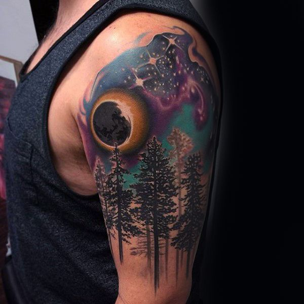 amazing-forest-with-stars-in-sky-guys-upper-arm-watercolor-tattoo.jpg (600×600)