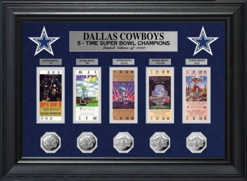 Dallas Cowboys Super Bowl Champions Tickets & Silver Coins Collection Frame Collage
