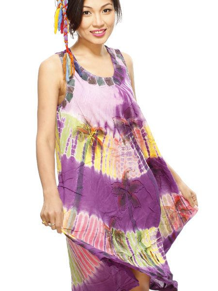 Stunning collection of colourful batik cotton dresses.