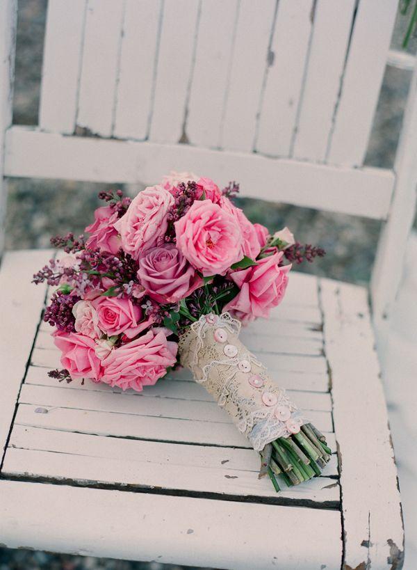 Vintage Pink and Lavender Wedding Bouquet