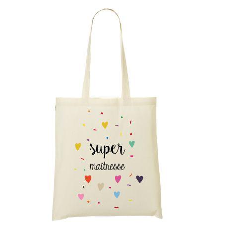 Super cadeau personnalisé pour la maitresse de votre enfant. Choisissez ce modèle ou personnalisé directement sur le site le tote bag pour la maitresse.