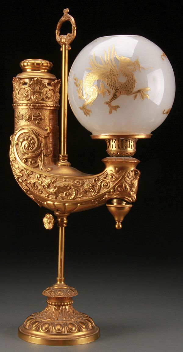 MANHATTAN BRASS CO. RENAISSANCE REVIVAL GILT BRONZE STUDENT LAMP, LATE 19TH CENTURY.
