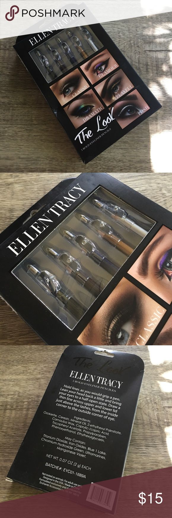 """🌸ELLEN TRACY SEALED 5 SET EYELINER & SHARPENERS 🌸ELLEN TRACY SEALED 5 SET EYELINER & SHARPENERS . """"THE LOOK"""" COLLECTION Ellen Tracy Makeup Eyeliner"""