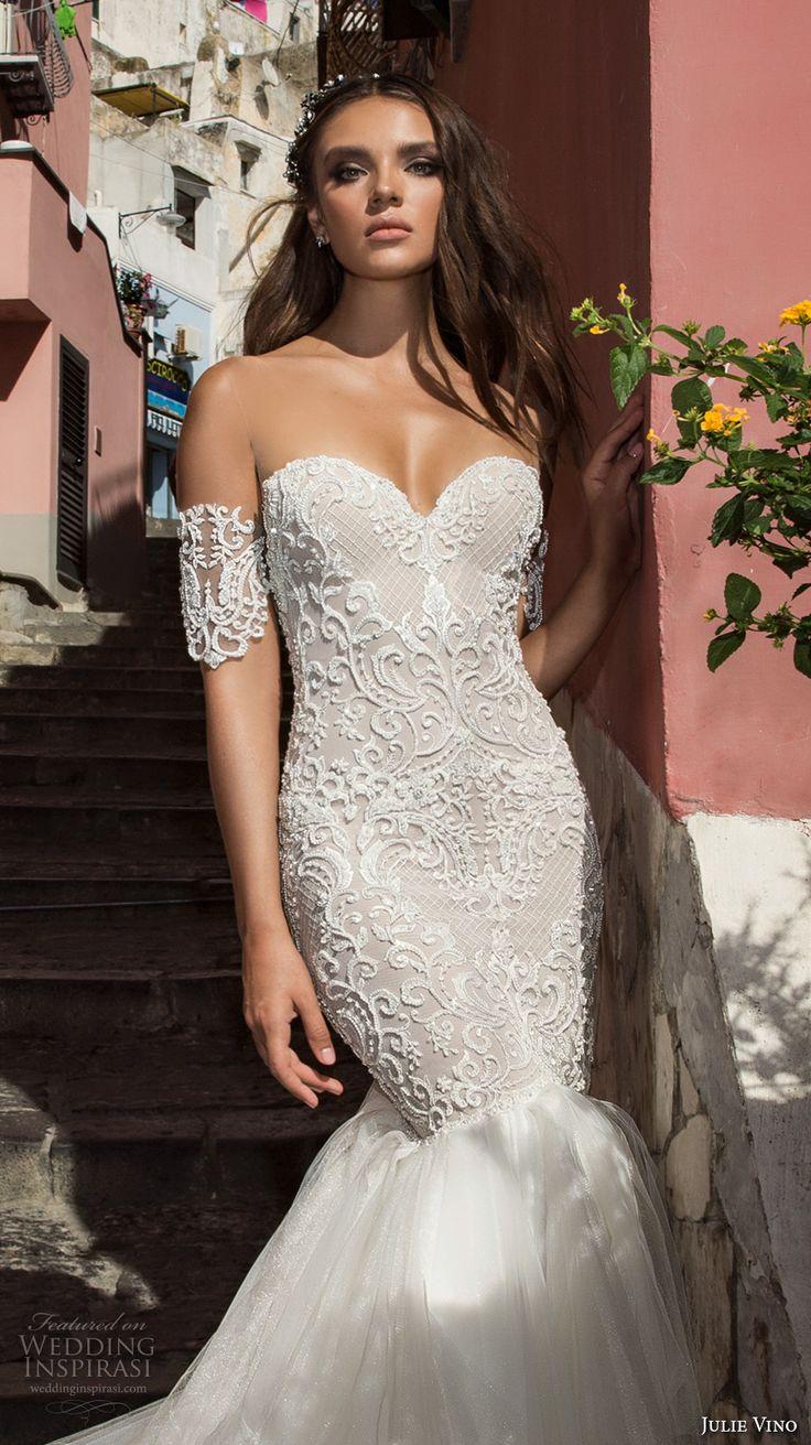 julie vino fall 2017 bridal strapless sweetheart neckline heavily embellished bodice tulle skirt elegant mermaid wedding dress low back chapel train (1203) zv