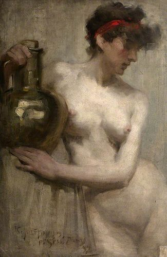 Female Nude with Brass Urn, 1892 by Robert Brough (Scottish 1872-1905)