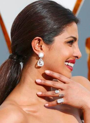 """Lorraine Schwartz also outfitted """"Quantico"""" star Priyanka Chopra in 50-carat brilliant- and pear-shape diamond earrings; other jewels included a 10-carat emerald-cut diamond pinkie ring."""