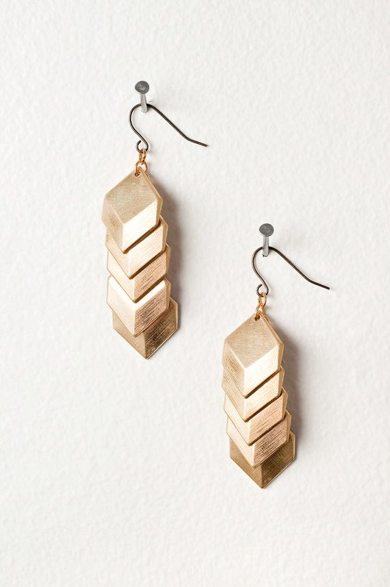 Layered Gold Geometric Square Earrings by DeuceFashion on Etsy