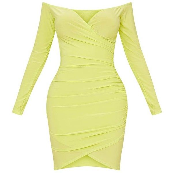 Shape Lime Slinky Ruched Detail Bardot Dress ($30) ❤ liked on Polyvore featuring dresses, shirred dress, scrunch dress, rouched dress, ruched dress and shirring dress