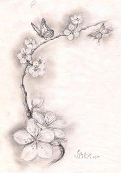 Pretty cherry blossom tattoo