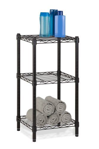 "Honey-Can-Do SHF-02218 3-Tier Steel Wire Shelving Tower, Black, 14 by 15 by 30-Inch by Honey-Can-Do. $39.47. Nsf certified - for healthy living with a contemporary design, complements any decor. Style combined with functionality with black powder coated finish. Easy to assemble with no power tools necessary, customize unit to fit your needs. Perfect for use in bathrooms, closets, and bedrooms; store towels, toiletries, toys, and more. Dimensions of:  14""d x 15""w x 30""h...."