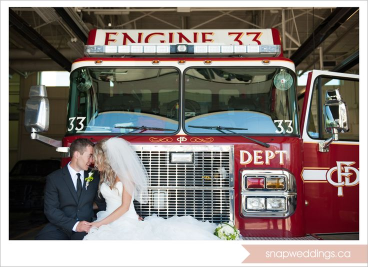 The Groom, A Fireman At His Station With His Bride   Fireman Wedding,  Firefighter