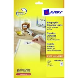 Avery afneembare witte etiketten Stick & Lift ft 63,5 x 29,6 mm (b x h), 675 stuks, 27 per blad