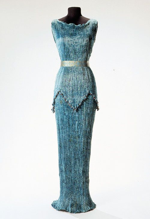 The Fortuny Delphos dress is Greek inspired with fine pleats in silk that had to be re-pleated after each cleaning.