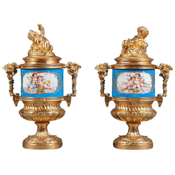 A Pair of 19th Century French Sevres Style and Gilt Bronze Porcelain Vases