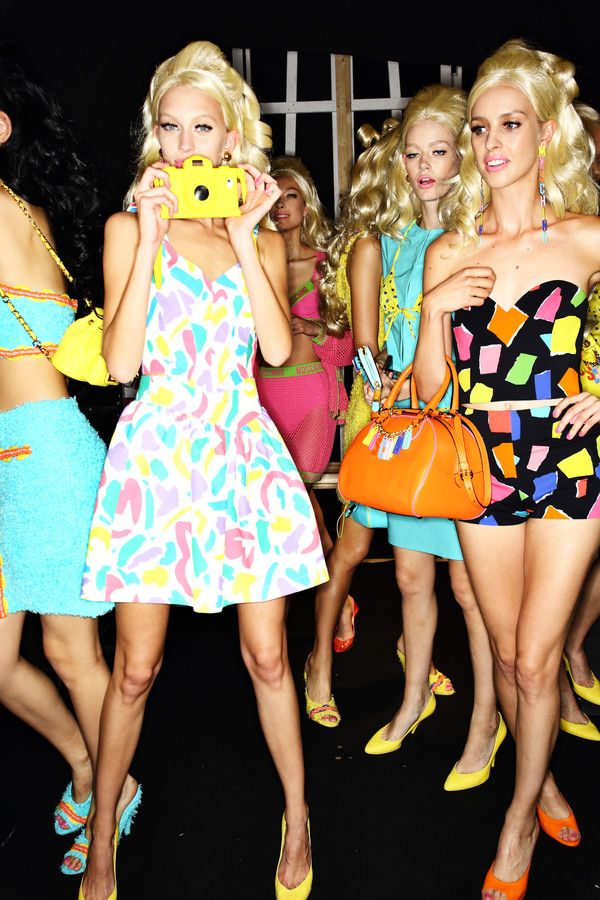 Moschino by Jeremy Scott backstage, more photos > http://sonnyphotos.com/2014/09/moschino-ss15-fashion-show-milan-backstage