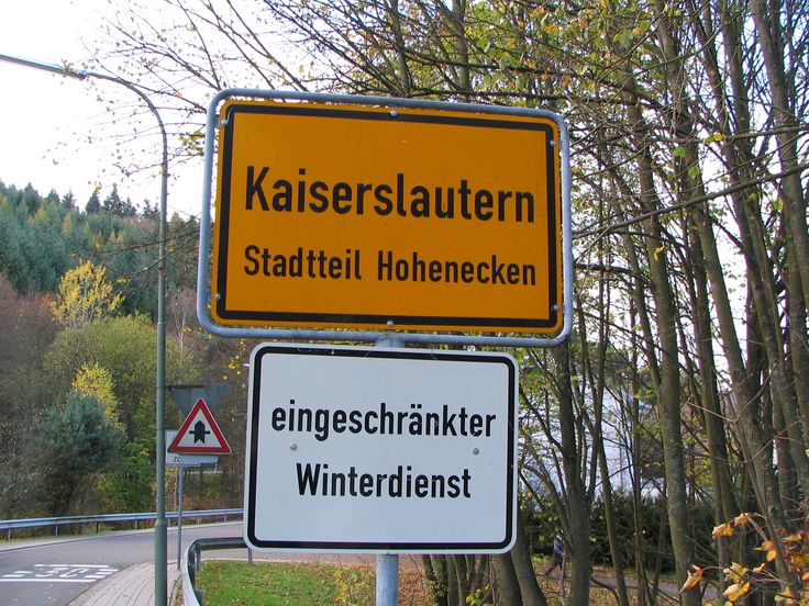 kindsbach germany | German road sign announcing Kaiserslautern/Hohenecken, Germany