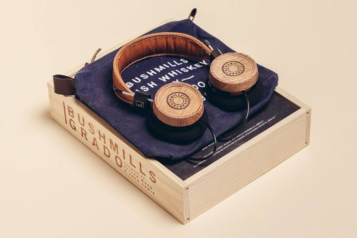 Headphones..Whiskey hobbit.. Grado releases its first closed-back headphone, a unique collaboration with Bushmills Irish Whiskey. Designed by Elijah Wood (Yes, Frodo himself) and Zach Cowie, the headphones feature earcups made from wood sourced from old whiskey barrels from the Bushmills Distillery in Ireland. The headphones also feature a tan leather headband and a limited edition wooden box and headphone pouch.