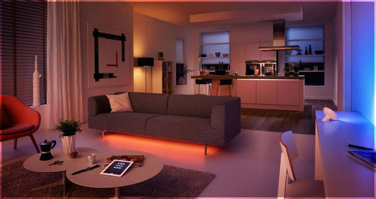 Use Philips Hue smart lighting in your living room! Change colors according to your mood! LED leet