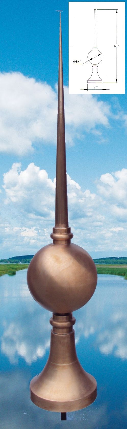 Copper Finials, Turret Roof Caps
