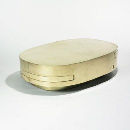 // Gabriella Crespi, Brass Extendable Coffee Table, c1970.
