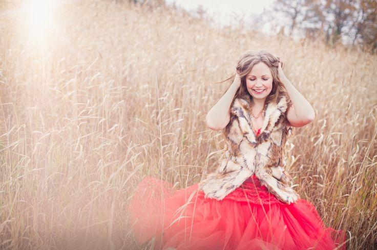 Red dress, autumn, beautiful woman, glamour photography, lake