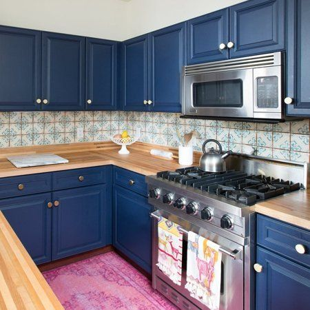 Bold Colourful Kitchen Blue CabinetsNavy KitchenSwedish