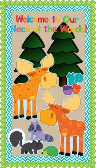 """Back To School Camping Themed Bulletin Board Idea."""" Welcome to our neck of the woods."""""""