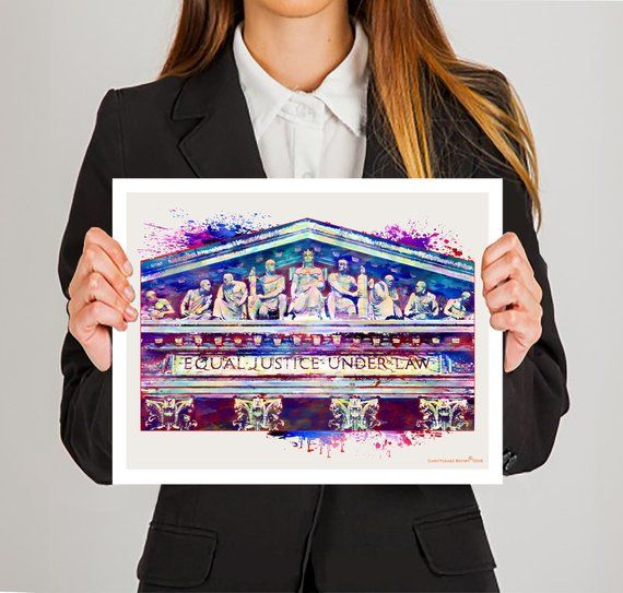 Law Print Supreme Court Building Frieze Watercolor Etsy Bar Gifts Law Office Decor Attorney Gifts