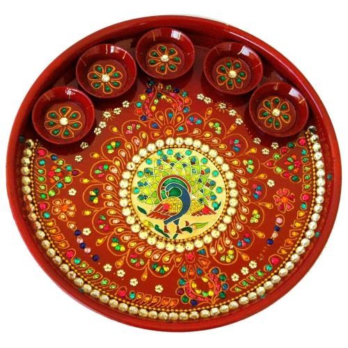 Enamelled peacock pooja thali, made of stainless steel with white crystal beads and five painted katoris attached