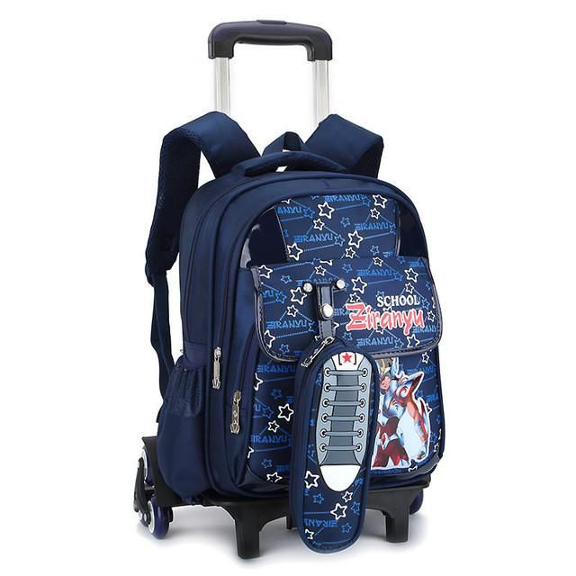 Nylon cartoon children school wheeled bags kids trolley backpacks mochilas infan…