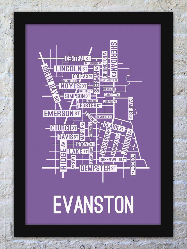 Evanston Illinois Street Map Print