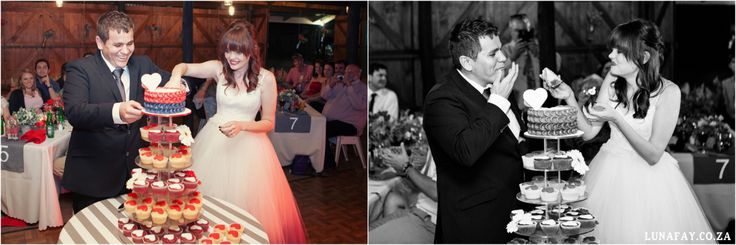Red, Navy, White Wedding. Red Colour palette, Modern Wedding, Ombre Wedding Dress, Heart Wedding Cake + Cupcakes www.lunafay.co.za