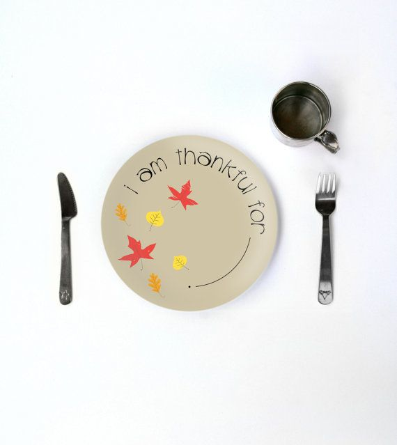 Kids Fall Thanksgiving Thankful Plate Melamine   Childrens Holiday  Dinnerware For Autumn Decor