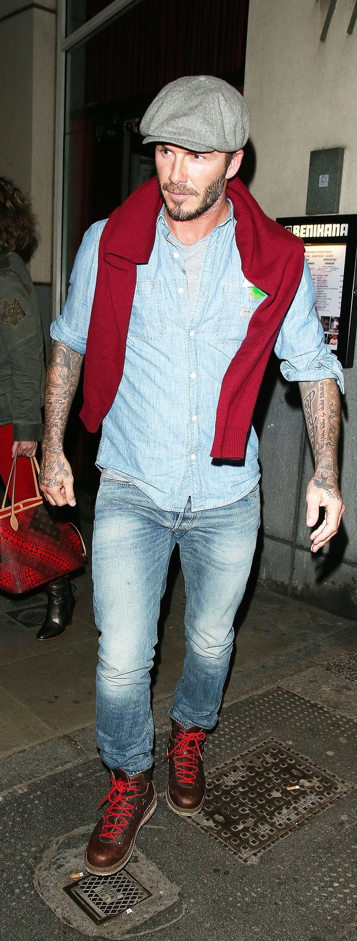 Getting it done in Ralph Lauren Denim & Supply: David Beckham does some holiday shopping in London in the chambray utility shirt