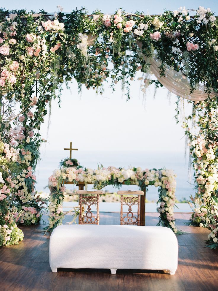 470 best wedding ceremony ideas and decorations images on pinterest decadent floral wedding arch facing the sea for wilson and vanias sakura garden wedding in bali junglespirit Gallery
