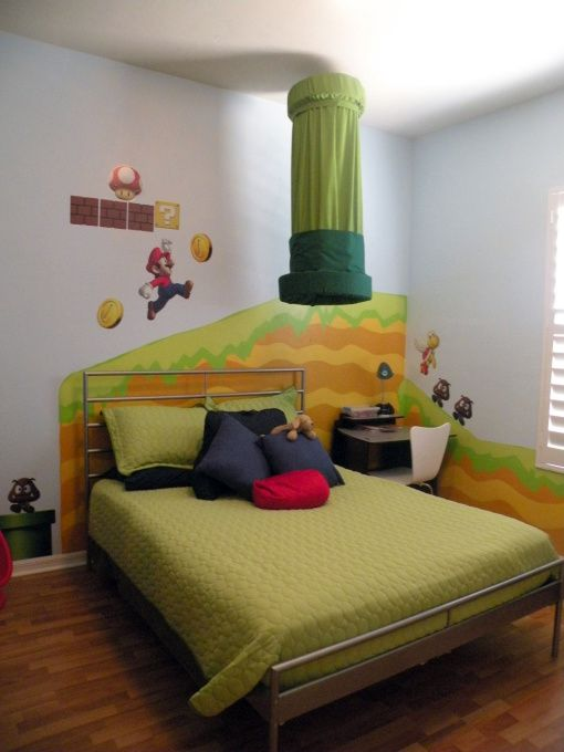 Mario Bros Madness, My 6 year old son wanted a Mario Bros theme room. So, we made it happen with a little help from some wall decals and creative painting., Boys Rooms Design