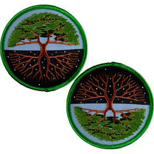 """A versatile patch depicting the Tree of Life. Can be displayed to show the Tree in full bloom or turned to display the bare winter branches in starry night. One patch per item ordered. Iron-on. 3"""""""