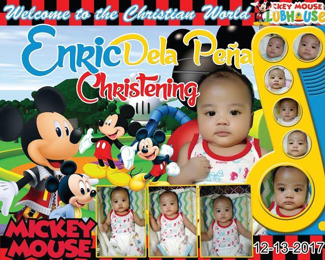 Sample Design Mickey Mouse Tarpaulin For Christening Birthday
