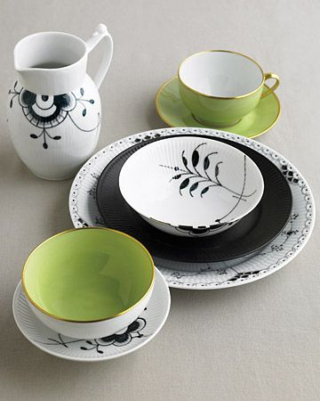 Registry List for the Eclectic Bride: Black, White, and Green Dishes. Cast a youthful spell on traditional floral patterns by mixing in black pieces. Black-and-white floral china, Royal Copenhagen; green china, Legle Limoges.