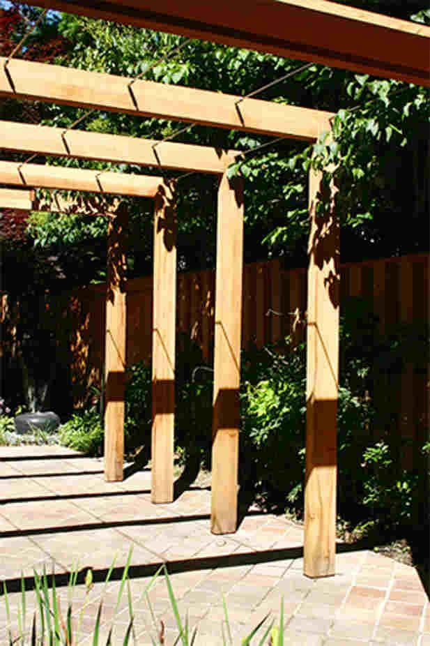 Image result for wood and metal cantilever garden