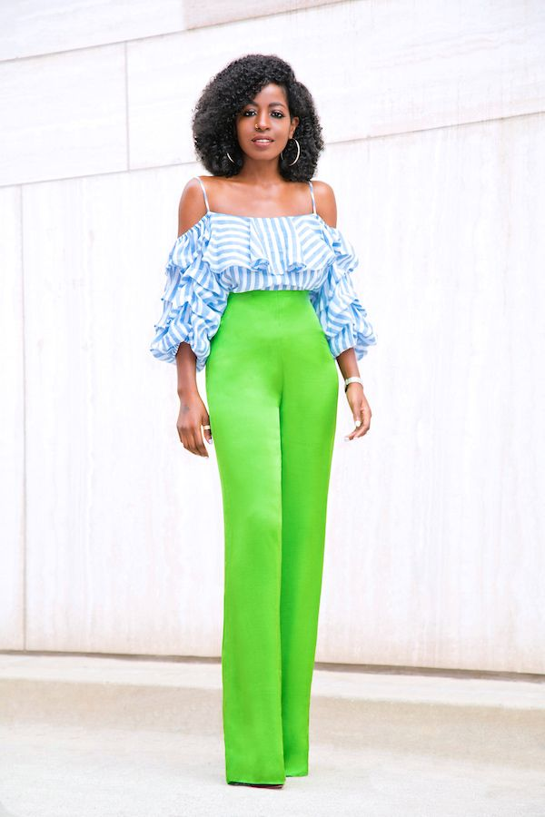 Style Pantry | Striped Pleated Sleeve Off Shoulder + Silk High Waist Pants