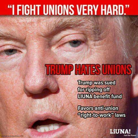 "The entire GOP(Republican Party) hates unions. They have a group called ""citizens united"" that is dedicated to crushing unions and pro union groups and candidates.  https://www.washingtonpost.com/opinions/yes-citizens-united-gives-republicans-an-electoral-edge-heres-proof/2016/04/07/c9fe3fa4-fb5c-11e5-886f-a037dba38301_story.html?utm_term=.5173786e3be8"