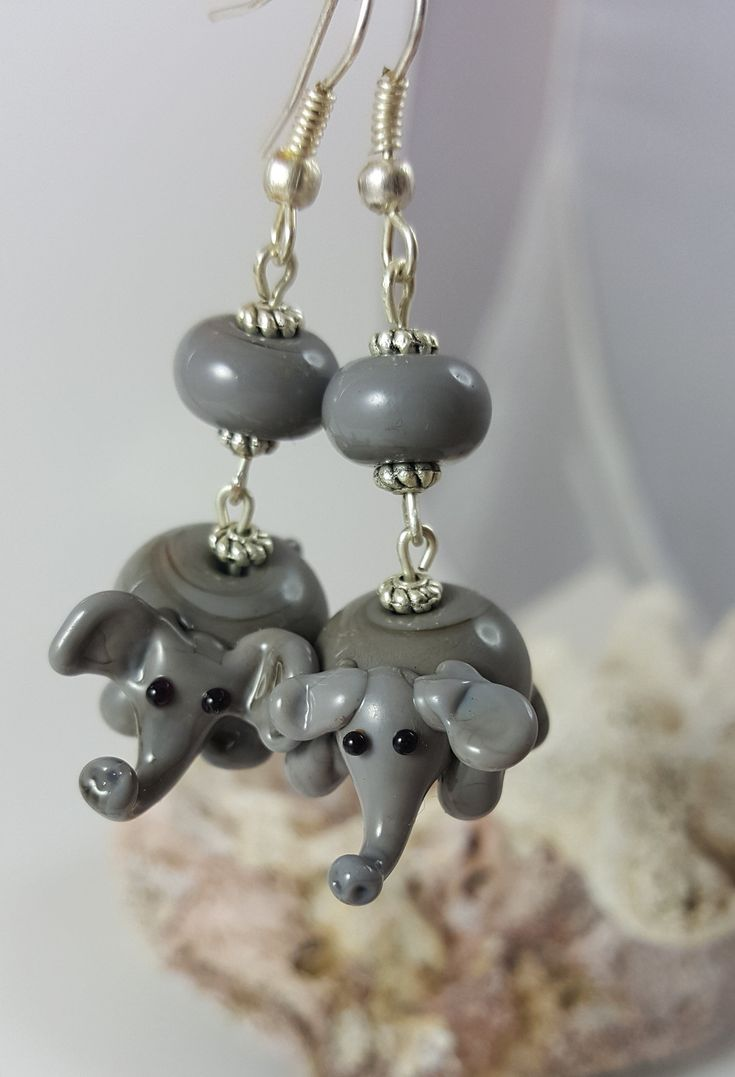 Excited to share the latest addition to my #etsy shop: Cute grey Elephant glass lampwork earrings http://etsy.me/2ttz8Rb #jewelry #earrings #gray #black #lampworkglass #elephantbead #glasselephantbead #lampworkelephant #handcraftglassbead
