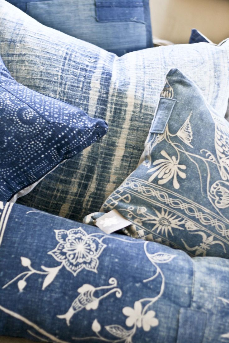 Indian block print indigo pillows. I could DIY it with old jeans & a bleach pen!