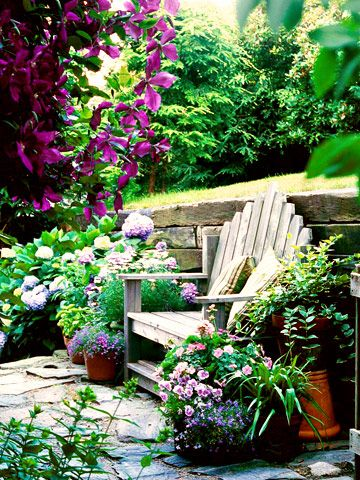 cottage garden style. private corner for biblical counseling