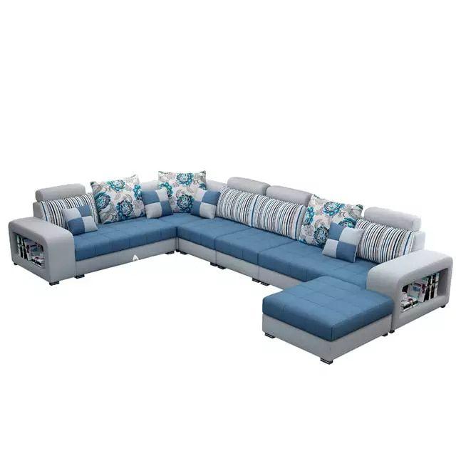Online Shop Living Room Sofa Set Home Furniture Modern Cotton Fabric Solid Wood Frame Soft Sponge U Shape In 2020 Living Room Sofa Set Sofa Set Living Room Sofa Design