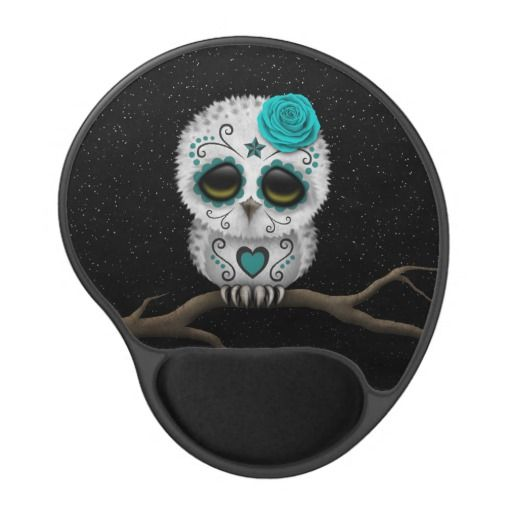 Cute Teal Day of the Dead Sugar Skull Owl Stars...change the heart to a star, i love this!